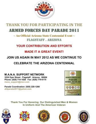 2011 Armed Forces Day Parade, Flagstaff, AZ Participation Award