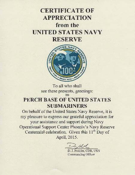 US Navy Reserve Centennial celebration Certificate of Appreciation
