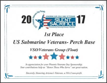 2017 Phoenix Veterans Day 1st Place Award - Veterans Service Organization Floats