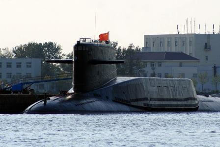 Chinese Jin-Class submarine in port.