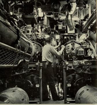 Forward torpedo room on a diesel boat