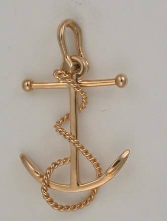 A fouled anchor used in a piece of jewlery.